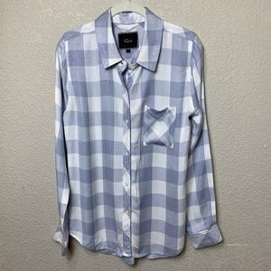 Rails Periwinkle/White Gingham Check Flannel Shirt